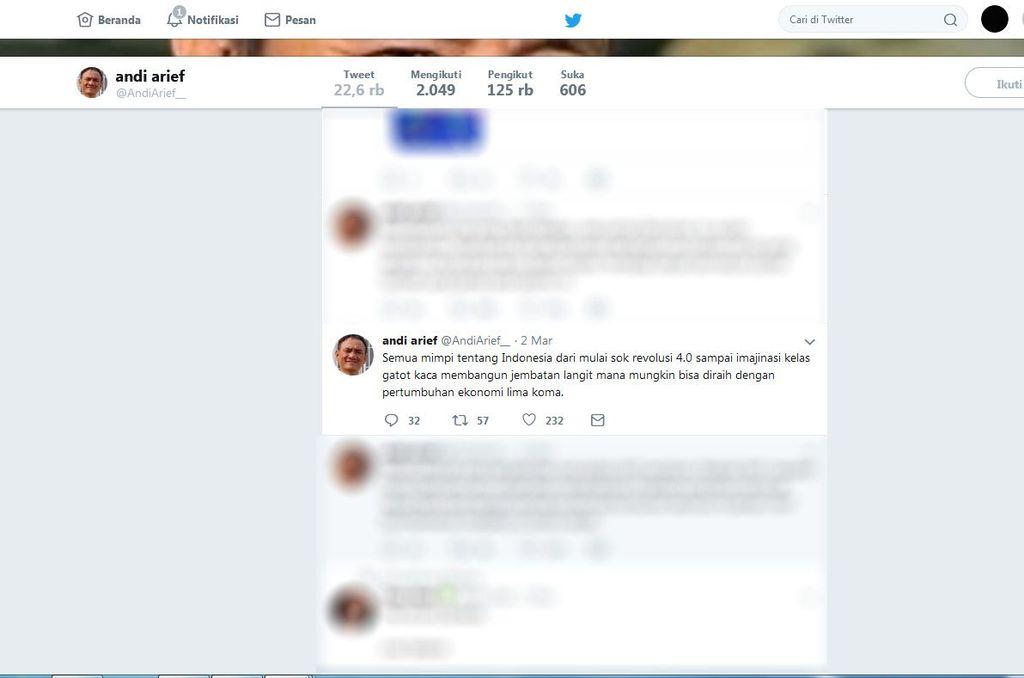 Politisi Partai Demokrat Andi Arief tengah ramai diperbincangkan masyarakat. Istimewa/Dok. Twitter Andi Arief.