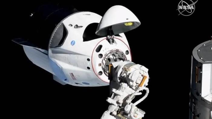 Potret Crew Dragon milik SpaceX yang terparkir di ISS. Foto: NASA