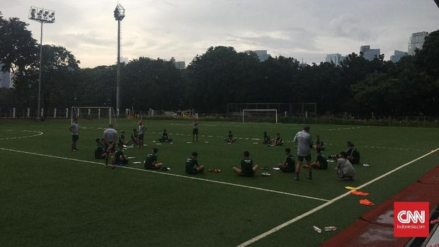 Latihan Timnas Indonesia U-23 pada Selasa (5/3) pagi. (