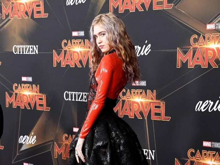 HOLLYWOOD, CALIFORNIA - MARCH 04: Grimes attends the Marvel Studios Captain Marvel premiere on March 04, 2019 in Hollywood, California. (Photo by Frazer Harrison/Getty Images)