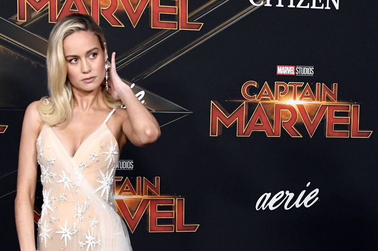 Brie Larson saat menghadiri acara gala premiere Captain Marvel di California, Amerika Serikat pada Senin (4/3).Frazer Harrison/Getty Images