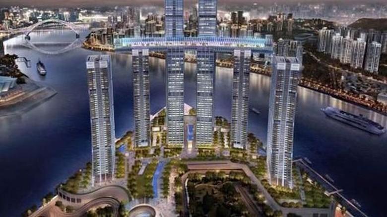 Desain gedung horizontal The Crystal di China (Safdie Architect)