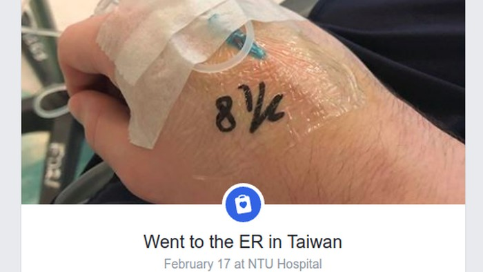 Kevin Bozeat dirawat pada Februari lalu saat bepergian ke Taiwan. (Foto: Facebook/Kevin Bozeat)