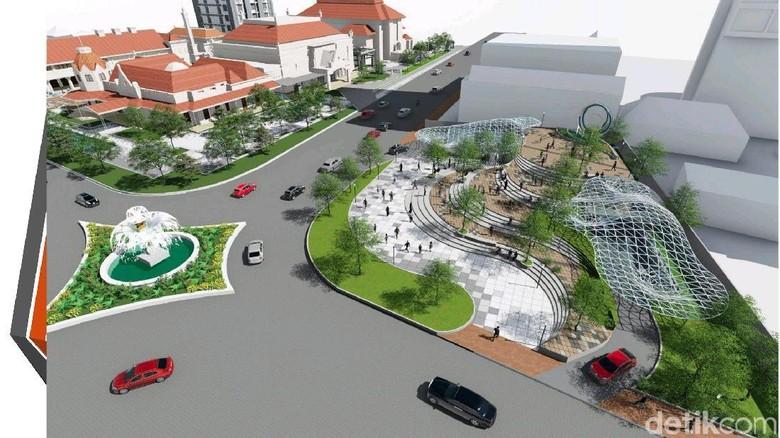 Pemkot Jamin Proyek Basemen Alun-Alun Surabaya Tak akan Ambleskan Jalan