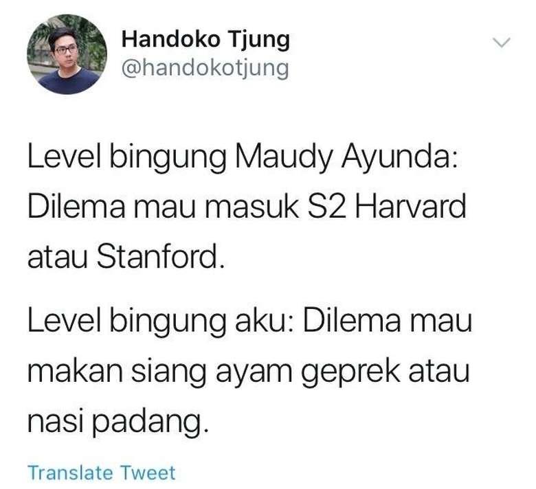Kabar membanggakan datang dari aktris cantik dan berbakat, Maudy Ayunda. Ia baru saja mendapatkan tawaran dari universitas Harvard dan Stanford, untuk melanjutkan pendidikannya. Maudy pun dihadapi oleh dilema, banyak netizen yang merespon Maudy dengan cuitan kocak tentang hal ini. Foto: Twitter