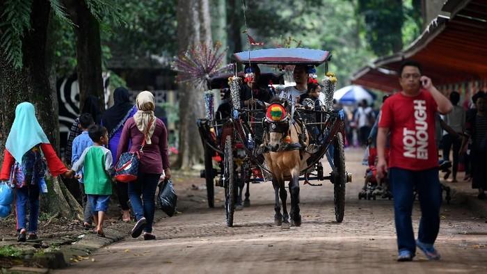 Pengunjung berkeliling dengan kereta di Taman Margasatwa Ragunan, Jakarta Selatan, Kamis (7/3/2019). Taman Margasatwa Ragunan ramai dikunjungi wisatawan yang memanfaatkan libur Hari Raya Nyepi untuk berekreasi bersama keluarga. ANTARA FOTO/Sigid Kurniawan/wsj.