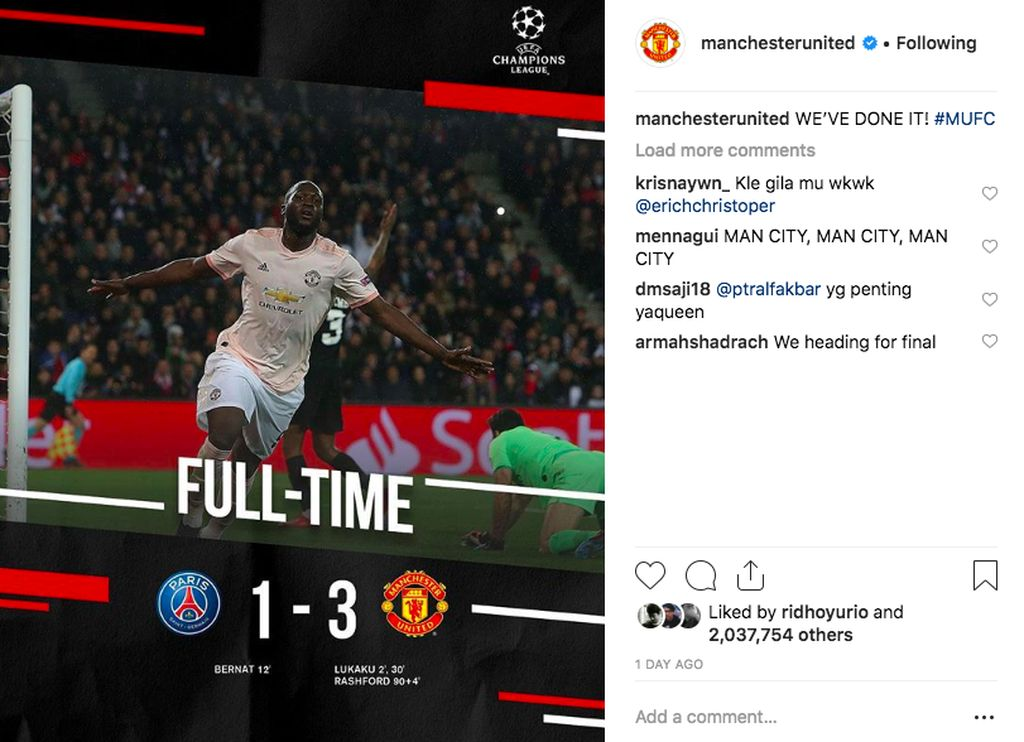 Sesaat setelah peluit tanda pertandingan dengan PSG berakhir, MU memajang foto ini di Instagram dan menggaet lebih dari 2 juta like. Foto: Instagram