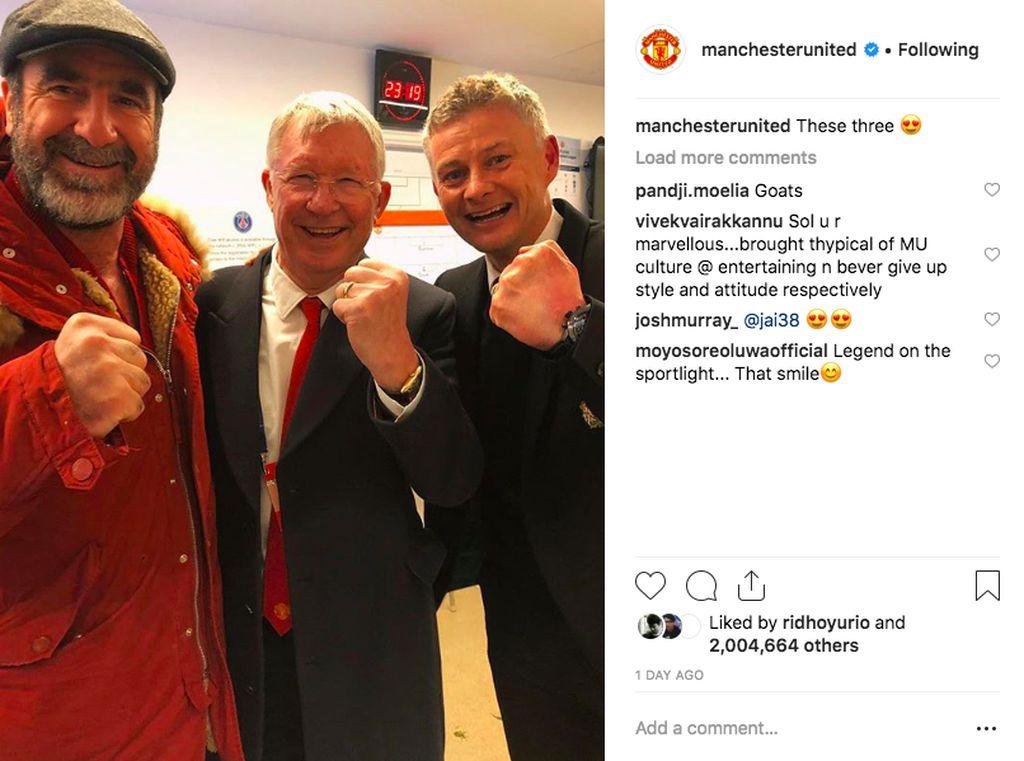 Foto ini menampilkan legenda MU, Eric Cantona, Alex Ferguson dan Ole Gunnar Solksjaer merayakan kemenangan. Tak heran 2 juta Like juga diraih di postingan ini. Foto: Instagram