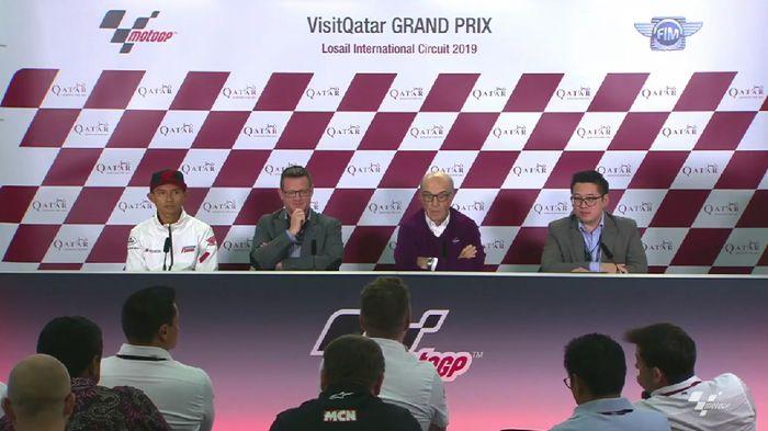 Presentasi MotoGP Indonesia di Qatar, Sabtu (9/3/2019). (Foto: Screenshot MotoGP)