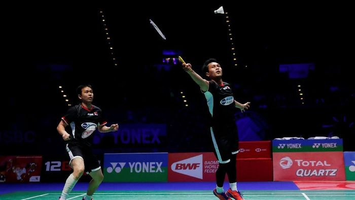 Hendra Setiawan/Mohammad Ahsan juara All England 2019.  (Andrew Boyers/Reuters)