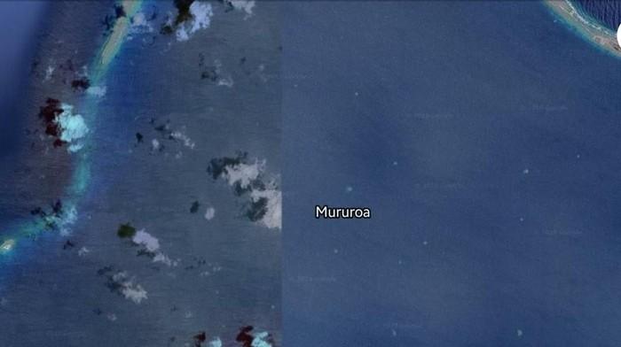 Pulau misterius yang separuhnya di-blur Google Maps. (Foto: Mururoa via screenshot Google Maps)