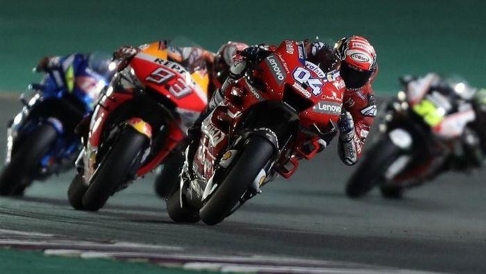 Kemenangan Andrea Dovizioso di MotoGP Qatar digugat, dan sidang banding akan digelar sebelum MotoGP Argentina akhir bulan mendatang. (Foto: Karim Jaafar/AFP)
