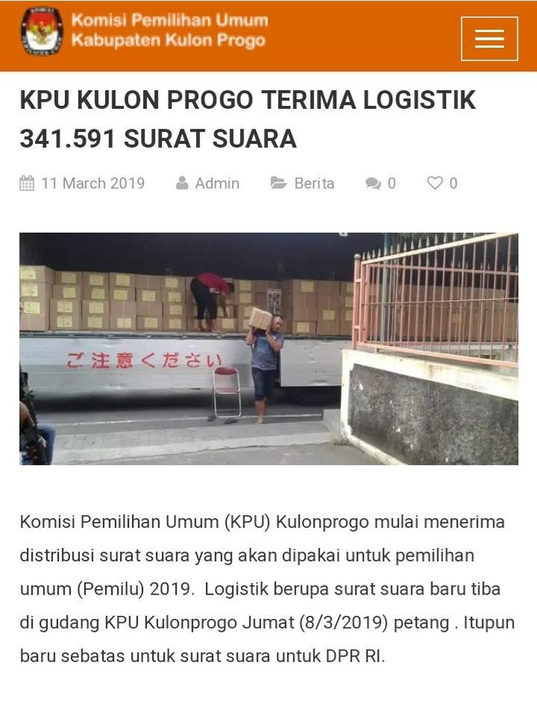 Kata KPU Kulon Progo soal Truk Beraksara Asing Angkut Surat Suara