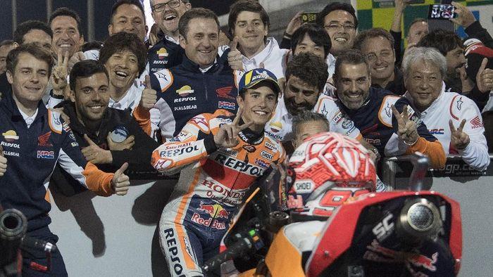 Marc Marquez gagal menuntaskan puasa kemenangan di MotoGP Qatar (Mirco Lazzari gp/Getty Images)