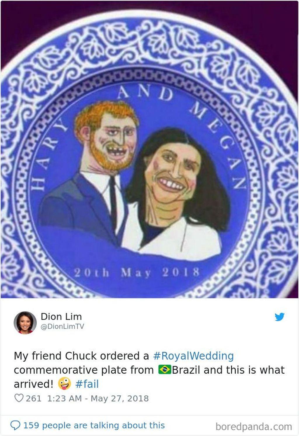 Pembeli ini membeli piring secara online yang dikirim dari Brazil, begitu tiba gambar kedua pasangan kerajaan Inggris Harry dan Meghan tampak mengerikan. (Foto: Boredpanda)