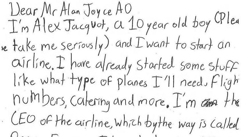 Surat dari Alex untuk bos Qantas (@Qantas/Twitter)