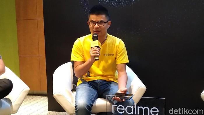 Marketing Director Realme South East Asia Josef Wang bicara soal Realme 3. (Foto: Muhamad Imron Rosyadi/detikINET)