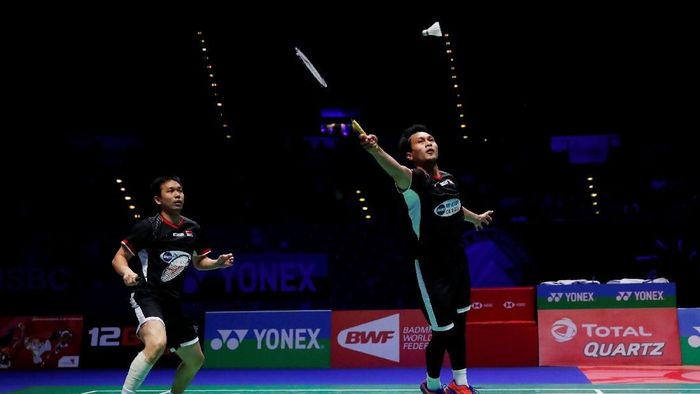 Muhammad Ahsan/Hendra Setiawan di final All England 2019 (Action Images via Reuters / Andrew Boyers)