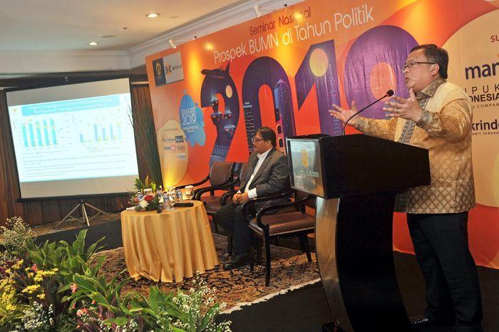 Menteri PPN/Kepala Bappenas Bambang Brodjonegoro menjadi salah satu pembicara dalam Seminar Prospek BUMN di Tahun Politik 2019 di Jakarta, Rabu (13/3/2019). Foto: dok. Bappenas