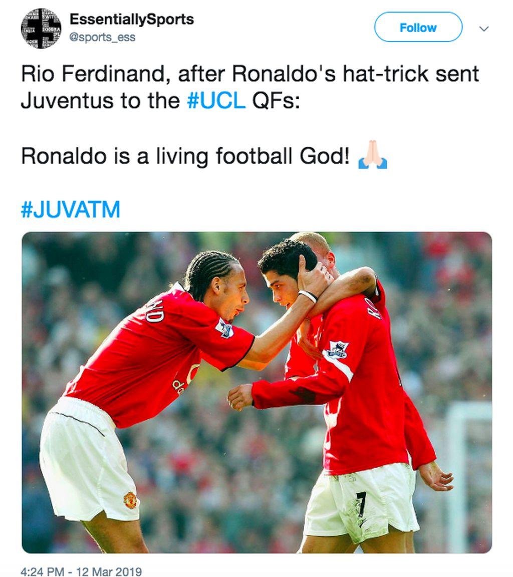 Rio Ferdinand turut mengucapkan selamat atas hatrick Ronaldo. Foto: istimewa