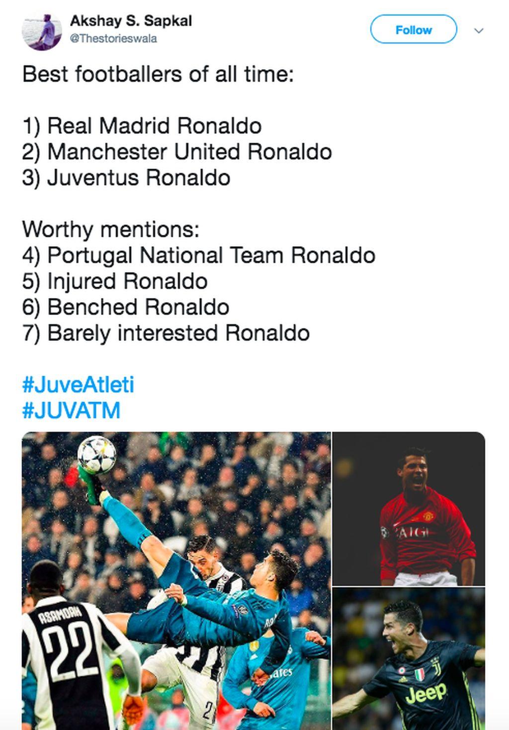 Netizen ini begitu yakin main dimanapun, Ronaldo tetap terbaik dunia. Foto: istimewa