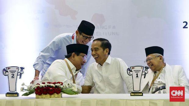 Prabowo Subianto, Sandiaga Uno, Joko Widodo, dan Ma'ruf Amin.