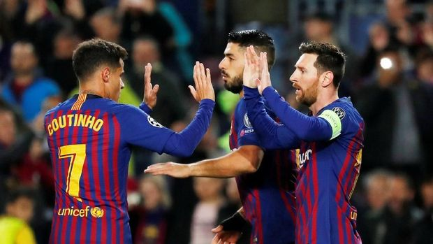 Barcelona melaju ke babak perempat final Liga Champions.