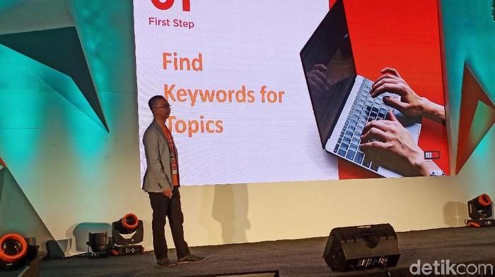 COO ToffeeDev David Antonny memberi tips konten menarik untuk gaet pengunjung website. (Foto: Virgina Maulita Putri/detikINET)