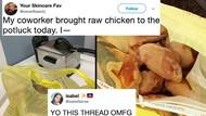 Makan Bersama di Kantor, Pria Ini Bawa Ayam Mentah hingga Penggorengan