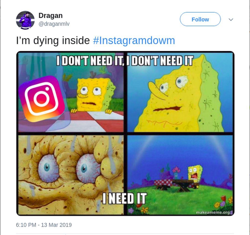 Spongebob pun ikutan sekarat karena efek banyak aplikasi down. (Foto: Twitter)