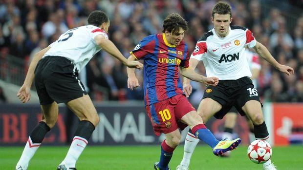 Barcelona dua kali mengalahkan Manchester United di final Liga Champions.