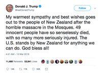 Trump Kutuk Pembantaian Muslim di Selandia Baru