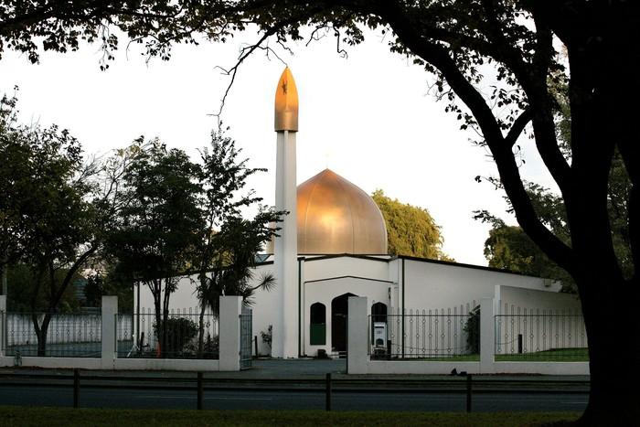 Masjid Al Nur, Christchurch, yang jadi salah satu lokasi penembakan brutal di New Zealand.  Foto: REUTERS/SNPA/Martin Hunter