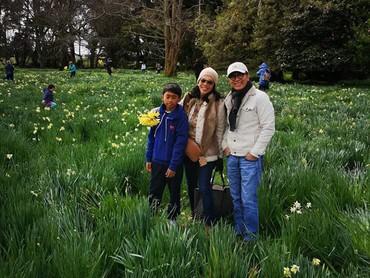 Tantowi Yahya dan keluarga menikmati pemandangan bunga-bunga bermekaran saat musim semi di Selandia Baru. (Foto: Instagram @tantowiyahyaofficial)