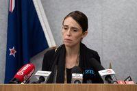 Perdana Menteri New Zealand Jacinda Ardern saat jumpa pers tragedi penembakan masjid di Christchurch.
