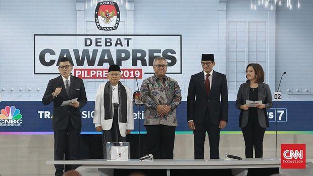 Debat Pilpres putaran ketiga diikuti oleh Cawapres nomor urut 01 K.H. Ma'ruf Amin dan Cawapres nomor urut 02 Sandiaga Uno di Hotel Sultan, Jakarta, Minggu (17/3/2019). (CNN Indonesia/Andry Novelino)