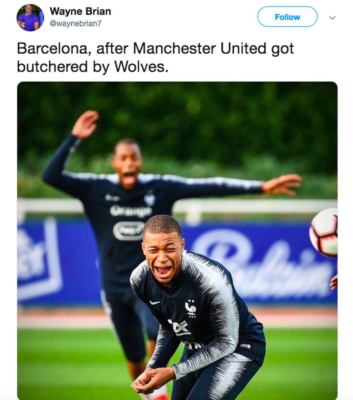 Kembali meme ini menggambarkan seolah Barcelona mengejek MU. Foto: istimewa