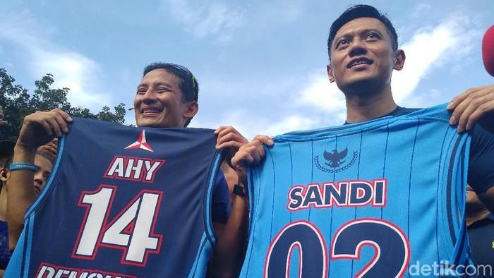 Sandiaga Uno dan AHY (Nur Azizah Rizki Astuti/detikcom)