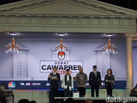 Penampilan Sandiaga Uno dan Ma'ruf Amin dalam Debat Cawapres Pilpres 2019.