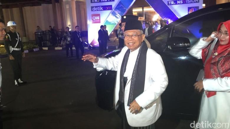 Tiba di Hotel Sultan, Maruf Siap Bicara Gagasan di Debat Cawapres