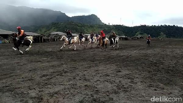 Beberapa wisatawan masih berkunjung ke Gunung Bromo, tetapi para ojek kuda nyatanya sepi job alias mengalami penurunan pemasukan (M Rofiq/detikcom)