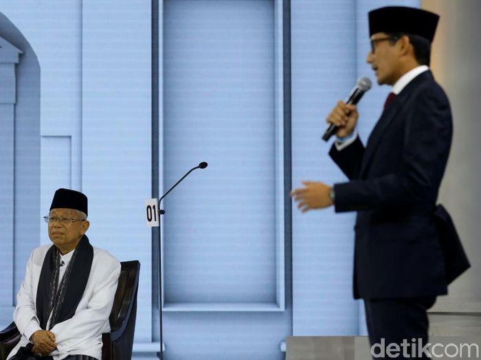 Debat cawapres Maruf Amin dan Sandiaga Uno/Foto: Grandyos Zafna