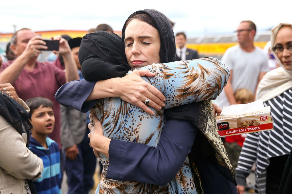 WELLINGTON, NEW ZEALAND - MARCH 17: Prime Minister Jacinda Ardern arrives at the Kilbirnie Mosque on March 17, 2019 in Wellington, New Zealand. 50 people are confirmed dead and 36 are injured still in hospital following shooting attacks on two mosques in Christchurch on Friday, 15 March. The attack is the worst mass shooting in New Zealand's history. (Photo by Hagen Hopkins/Getty Images)