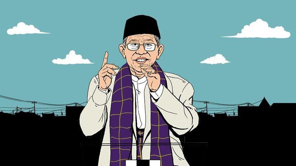 Beda Gaya Maruf Amin di Debat Putaran 1 dan 3