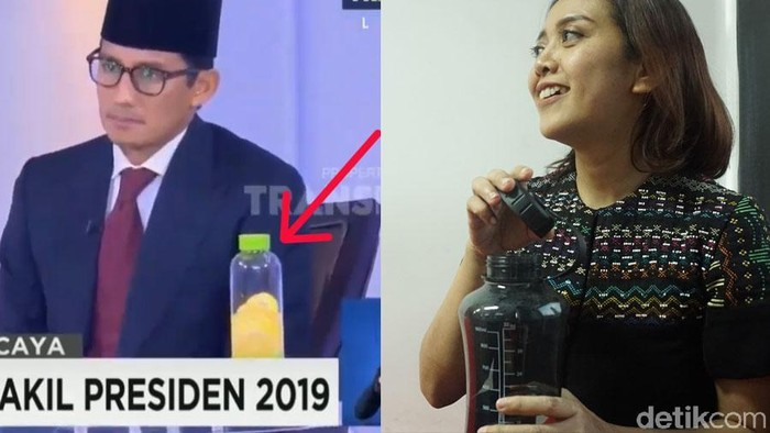 Infused Water Sandiaga Uno Vs Botol Minum Putri Ayuningtyas (Foto: detikHealth)