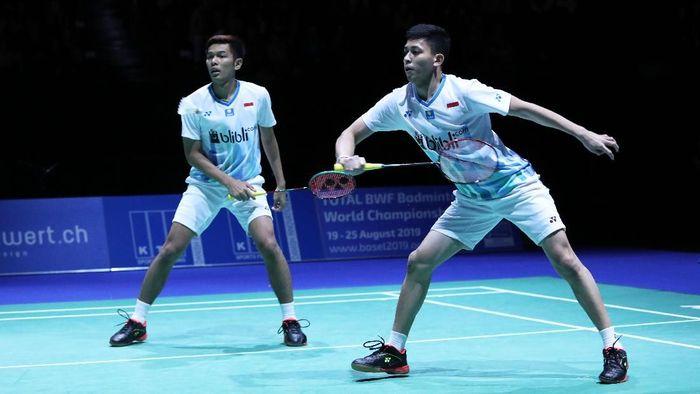 Fajar Alfian/Muhammad Rian Ardianto akan melawan Kevin Sanjaya Sukamuljo/Marcus Fernaldi Gideon di perempatfinal Singapura Terbuka 2018 (Foto: PBSI)