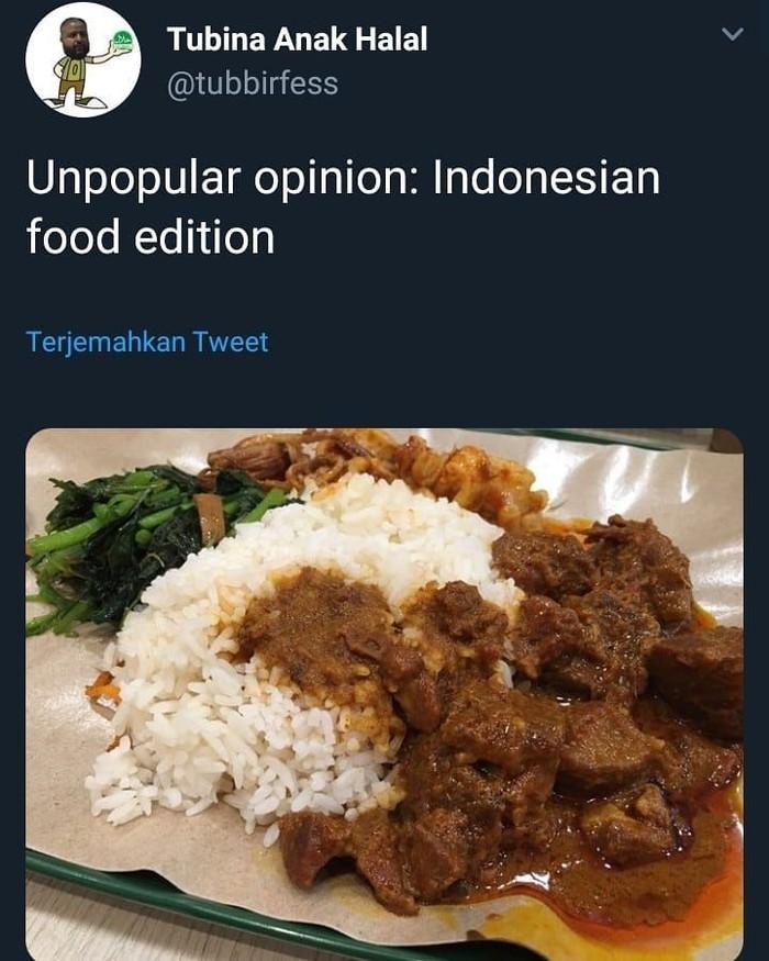 Berawal dari cuitan pengguna akun @tubbirfess soal penilaian makanan Indonesia. Lalu banyak netizen yang meluapkan curhatan soal selera makan yang pro dan kontra. Foto: Twitter