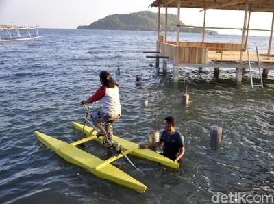 Naik Sepeda Tapi di Laut, Ada di Sulawesi Barat
