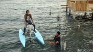 Foto: Ide Liburan Akhir Pekan, Main Sepeda Air di Polewali Mandar