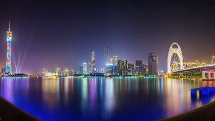 Night Panorama of Zhujiang River, Guangzhou, China